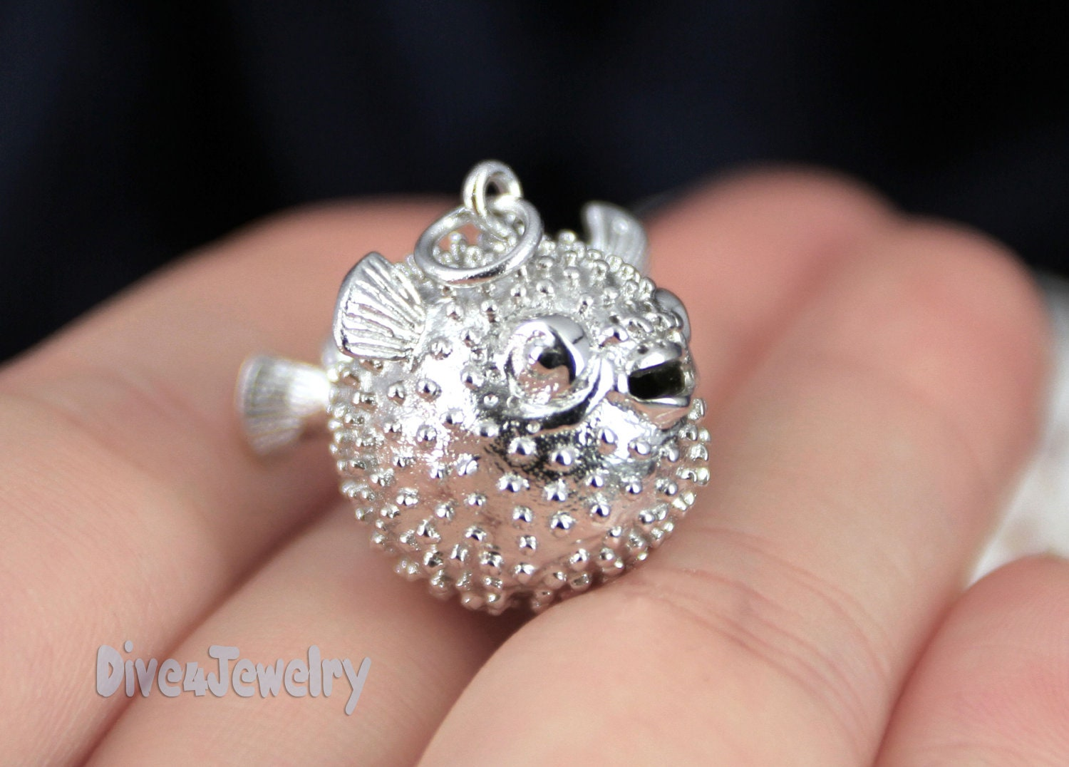 925 Silver Chain >> Sterling Silver Puffer Fish Pendant Necklace