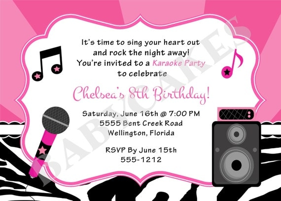 karaoke party birthday invitation diy print your own