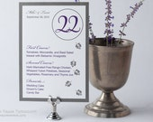 Wedding Menu Table Number Numbers and Menu Combination Combo Card Cards falling leaves leafs