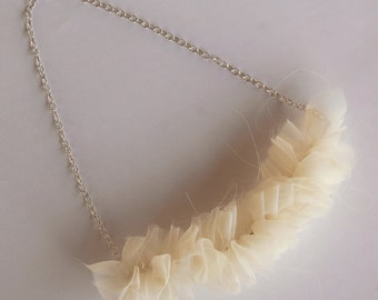 Chiffon Ruffle Necklace - Cream - Eco Friendly Wedding