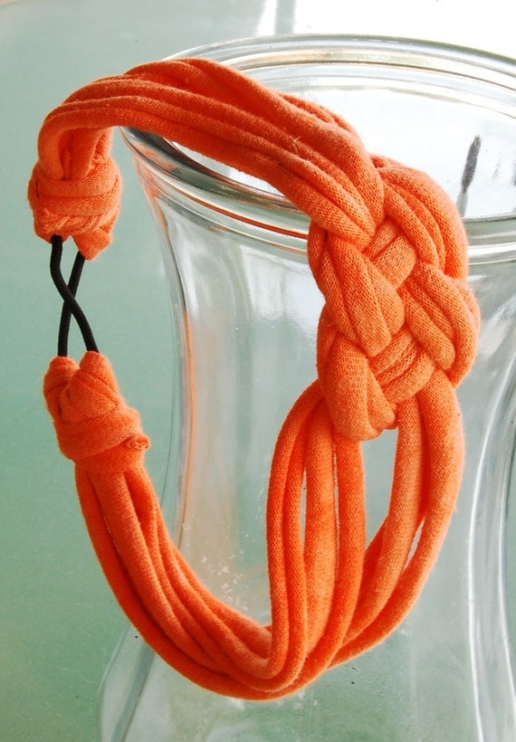 Bright Orange Knotted Jersey Headband - Recycled Materials