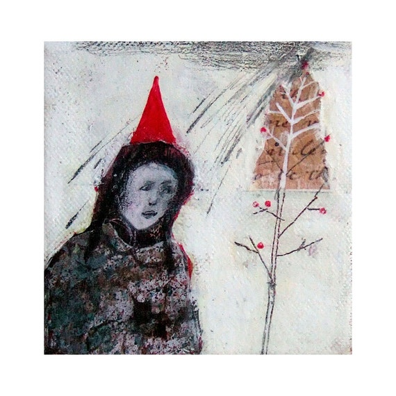 "RED HAT original collage on canvas figurative square 4""x 4"""