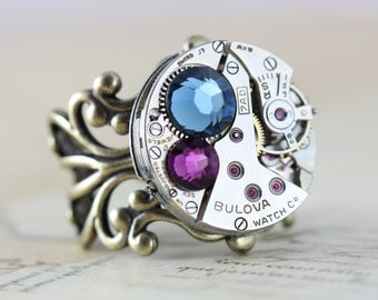 Steampunk Ring Clockwork Watch Ring Navy Purple Amenthyst Montana Blue Ring Round Antique Brass
