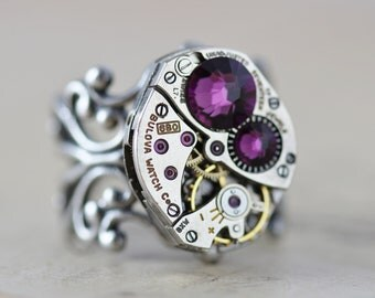 Steampunk Mothers Ring Personalized CUSTOM MADE Birthstone Ring Unique Ring Grandmothers Ring Silver Filigree Ring Watch Ring Steam Punk