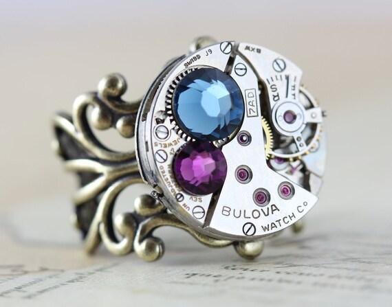 Steampunk Ring Clockwork Watch Ring Navy Purple Amenthyst Montana Blue Ring Round Antique Brass