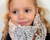 Thick and chunky kids cowl scarf neck warmer - hand crochet - great for on the go because it won't fall off - super warm
