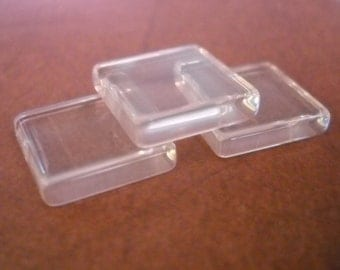 Glass Tile Squares Glass Tile Cabochons Clear Glass Cabochons Square Glass Cabochons 15mm 10 pieces Glass Tiles