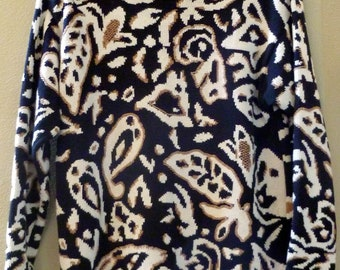 REDUCED...Big Bold Print SWEATER, 1980's, size Large