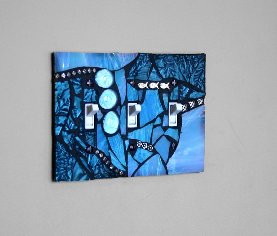Amazing Aqua - TRIPLE Mosaic Light Switch Cover Wall Plate