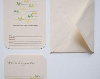 Blank 'Baby Baby' Baby Shower Invitations - Set of 8