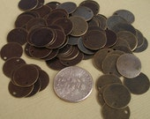 100pcs- Coin Antique Bronze Color Flat Round Blank Disc 12mm.