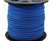 20ft-Faux Suede Cord Lace Leather Flat  Cornflower Blue 3x1.5mm.