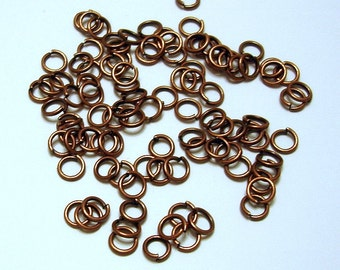 100pcs-Jump Rings, Copper Heavy Strong, OD-4mm, 21ga.