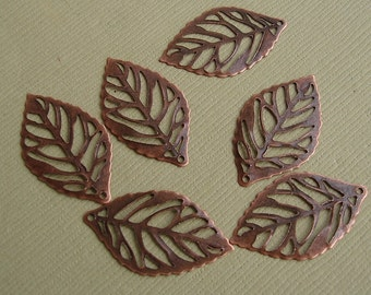 20pcs-Pendant, Leaf, Copper (25x15)mm.