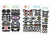 Monster & Robot Eyes Sticker Set of 3 : Cupcake Toppers Party Favor  // Playful Everyday Kids Toys