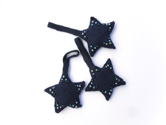 Blue christmas hanging felt padded beaded stars three 3 baubles ornament recycled