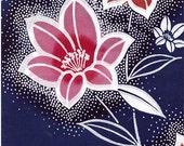 Cotton fabric Indigo pink orange flowers vintage new 1 yd lots