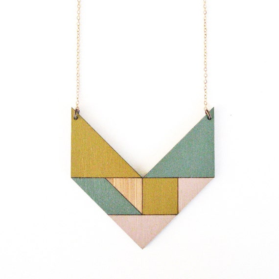 Tangram necklace / V / pastel pink, yellow & blue