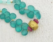 Green Quartz, Peruvian Opal &  Ruby Gemstone Beads Necklace with  24k Gold, Gemstones Necklace