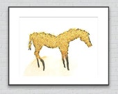 Yellow Horse Drawing - 8 by 10 yellow horse nature art - print of pastel painting