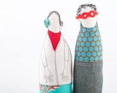 Stylish Couple - He in red glasses ,  gray dotted turquoise shirt and jeans , she in retro red flowers skirt - handmade fabric dolls