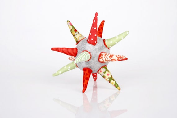 Teething Star - fabric Ball or Star in light Gray , red , green and white  - Flowery & polka dots- handmade eco design for Babies