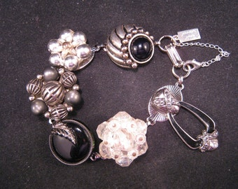 Charm Bracelet, Upcycled Earring Bracelet, Bridesmaid Gift, Black, Silver, Cluster earrings, Under 35 - The Edge of Night