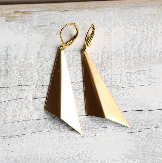 Geometric Triangle Earrings ... Modernist Fan Origami Folded Deco