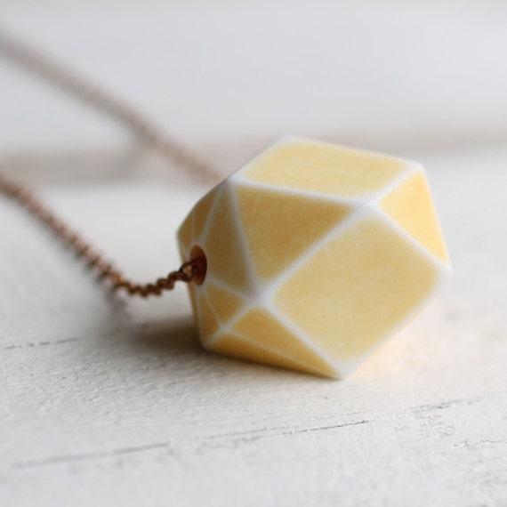Yellow Geometric Necklace ...  Lemon Sorbet Buttermilk Vintage Lucite with Fine Brass Chain