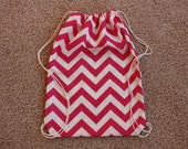 Pink and White Chevron Cinch Backpack Tote Bag