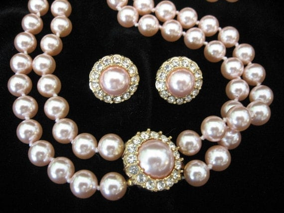 SALE 15% Off - Vintage Pink Knotted Faux Pearl Necklace and Earrings Set with Rhinestones