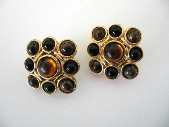 Vintage MONET Earrings - Monet Brown and Black Cabochon Earrings