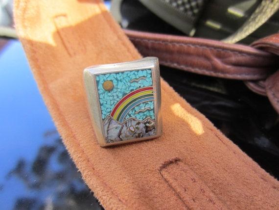 SALE SALE Scenic Rainbow Sun Bird Mountain Inlay Ring Alpaca