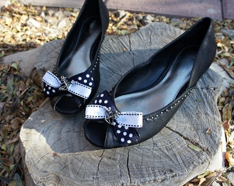 Olivia Paige - Polka dot bows anchor sailor pin up  Shoe clips for  flats