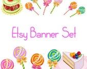 Premade Etsy Shop Banner Avatar Set - Lollipop candy cupcake cake  etsy banner set - no229