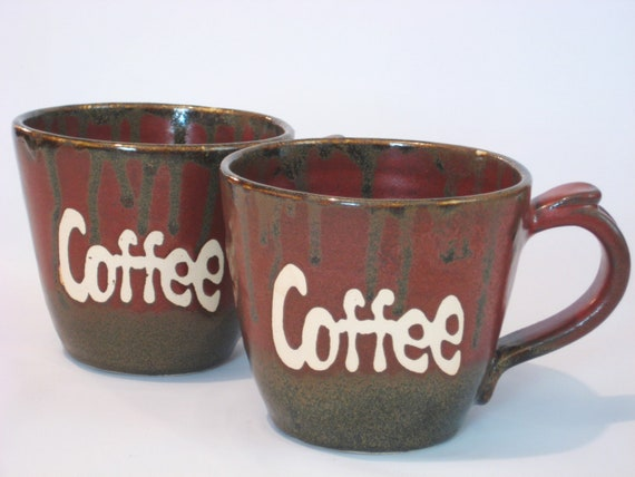 Large Coffee Mug Set - Handmade Pottery - Rustic Rust Red, Black, White