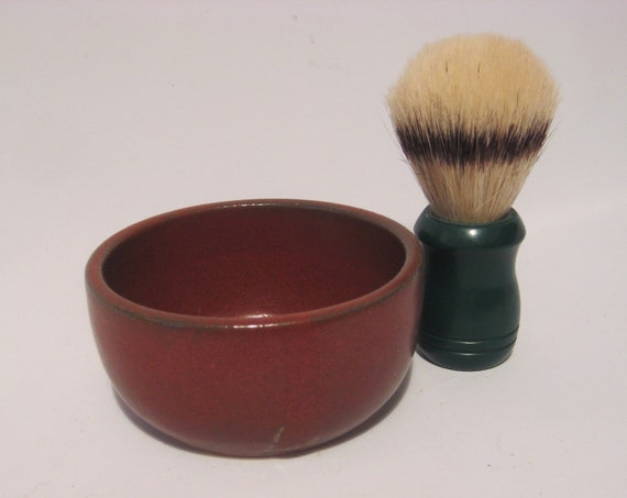 Man's Shaving Bowl Rust Red Handmade Pottery - Comfort Shave - Ridges for Good Soap Lather