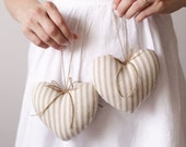 Rustic Hearts - Two Natural Ticking Plush Ornaments