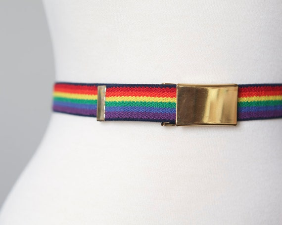 Rainbow Belt - Vintage 80s Adjustable Elastic Stretch Belt with Gold Buckle