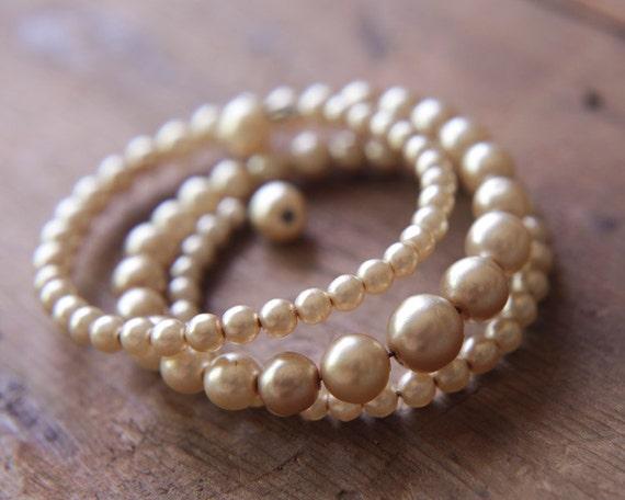 Vintage Coil Bracelet - Ivory Faux Pearl - Dainty Cuff