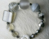 Smoke Signals... Hues of Grey, Modern Meets Abstract, Glass Beads