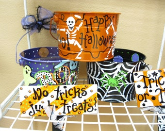 Jez4U Custom Halloween Buckets 3 included Festive Decor, Trick or Treat Buckets, or a Candy Buckets for Trick or Treaters, too