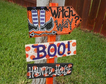 Halloween Handpainted WOOD signs 3 signs with a 3 foot stake Custom order