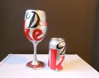 Diet Coke Anyone? Wine glass custom painted fun gift for the Diet Coke Lover