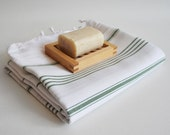 Shipping with FedEx - Turkish BATH Towel - Classic Peshtemal - White (green striped) - Beach, Spa, Swim, Pool Towels and Pareo