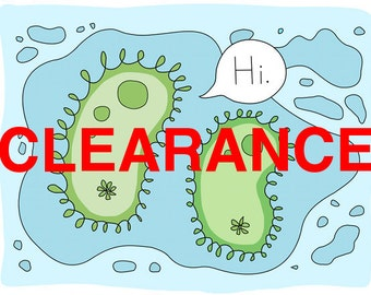 CLEARANCE Paramecium Greeting Card, Science, Protozoa, Blank, 5x7, Blue and Green, Unusual, Weird Card