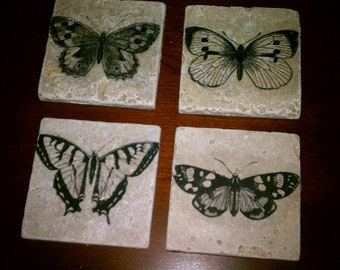 "Butterfly Coasters, Drink Coasters, Natural Stone Coasters, 4"" x 4"" Tumbled Stone Papillon"