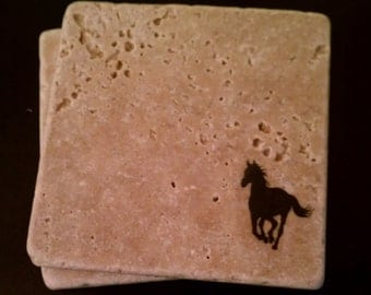 "Horse Tile Coasters, 4"" x 4"" Tumbled Stone Western Rustic Ranch Gift"