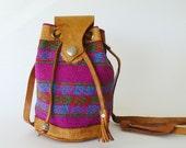 Vintage Petite Boho Ethnic Woven Textile Drawstring Shoulder Bag Pouch Leather Trim