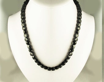 Black Onyx Faceted Squares Necklace with Sterling Silver Clasp Choker Modern Contemporary